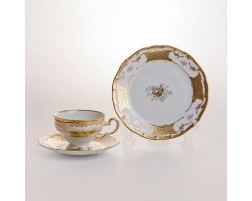 """Набор чайный 210мл. на 6 персон 18 предметов подарочный Weimar Porzellan """"Кленовый лист белый"""""""