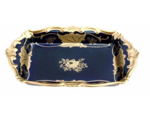 Масленка Кленовый лист синий Weimar Porzellan 18 см