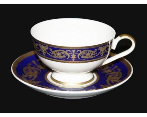 "Набор для чая 200мл. Bavaria ""Александрия Кобальт/зол."" на 6 персон 12 предметов"