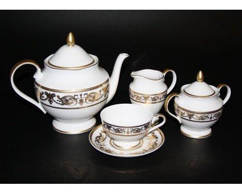 "Сервиз чайный Bavaria ""Александрия Голд/белый"" на 6 персон 15 предметов"