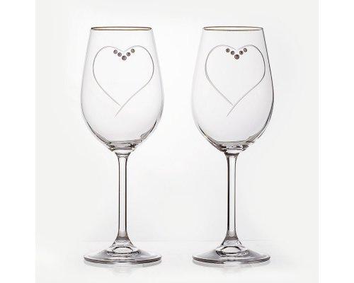 Набор бокалов 350мл. 2шт Сердце Кристалайт (Kristalayt)
