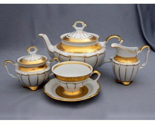 """Сервиз чайный Bavaria """"Лента золотая матовая1"""" на 6 персон 15 предметов"""
