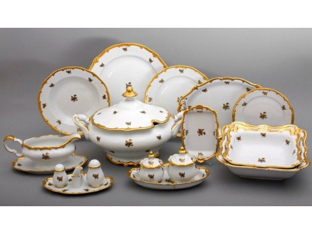 """Сервиз столовый Weimar Porzellan на 12 персон 49 предметов """"Роза золотая"""""""
