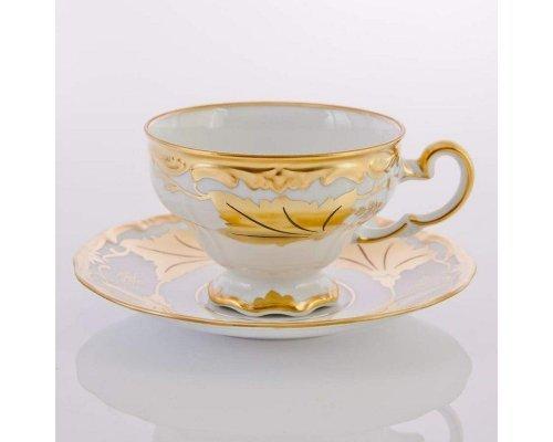 """Набор чайный на 6 персон 12 предметов подарочный Weimar Porzellan """"Кленовый лист белый"""""""