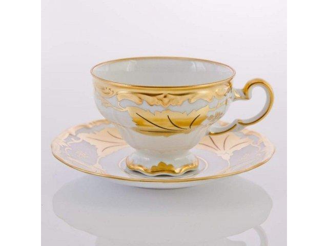Набор чайный Кленовый лист белый Weimar Porzellan на 6 персон 12 предметов 210 мл подарочный