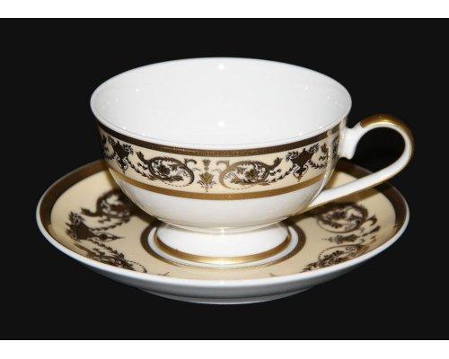 "Набор для чая 200мл. Bavaria ""Александрия Крем/зол."" на 6 персон 12 предметов"