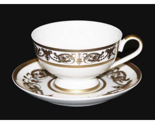"Набор для чая 200мл. Bavaria ""Александрия Голд/белый"" на 6 персон 12 предметов"