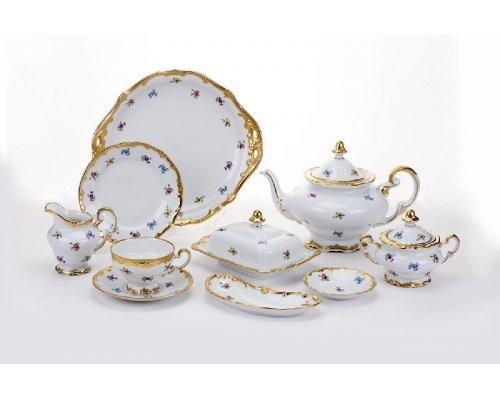"""Сервиз чайный Weimar Porzellan (210мл.,1,20) """"Мейсенский цветок"""" на 12 персон 54 предмета"""