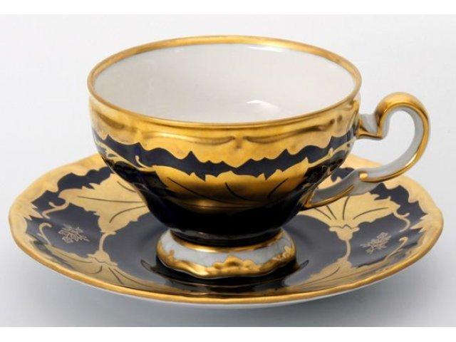 """Набор кофейный 160млна 6 персон 12 предметов Weimar Porzellan """"Кленовый лист синий"""" подарочный"""