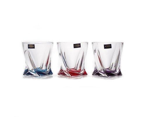 Набор стаканов 340 мл. Quadro Богемия Кристал (Bohemia Crystal) Ассорти (6 шт)