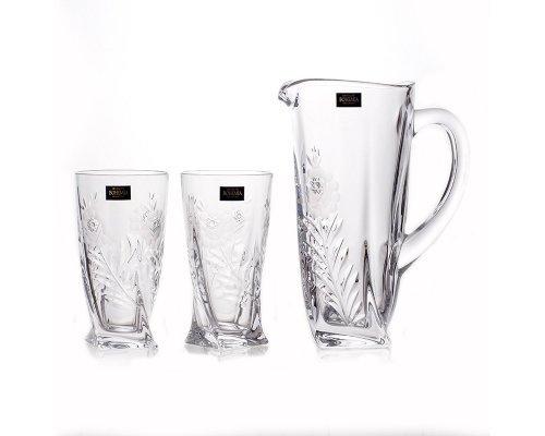 Набор для воды 350мл. 3 предмета Quadro Узоры Богемия Кристал (Bohemia Crystal)
