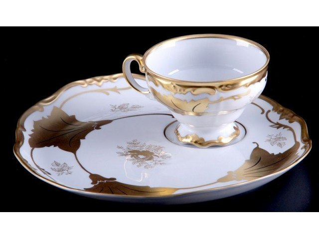 """Набор чайный Эгоист """"Кленовый лист белый"""" Weimar Porzellan 210 мл на 1 персону 2 предмета"""