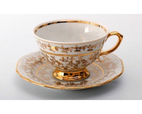 """Набор для чая на 6 персон 12 предметов Bavaria """"Лист белый"""""""