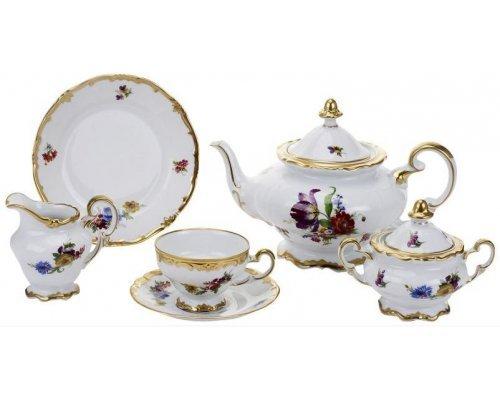 Чайный сервиз Мейсенский букет Weimar Porzellan на 6 персон 21 предмет подарочный