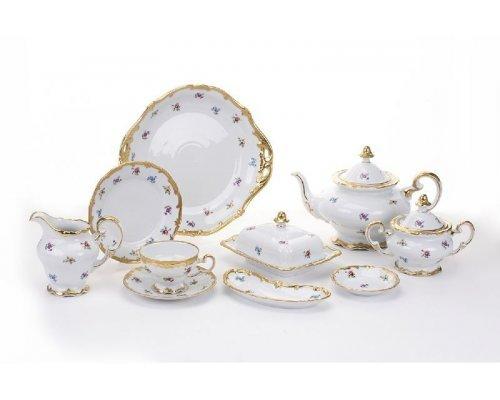 """Сервиз чайный (210мл. 1,20) Weimar Porzellan """"Мейсенский цветок"""" на 6 персон 30 предметов"""