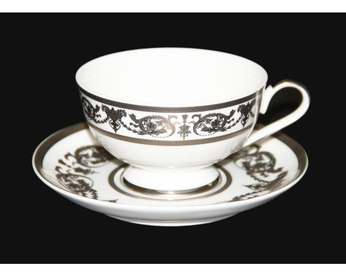 "Набор для чая Bavaria ""Александрия Платин/белый"" (чашка 200мл.+блюдце) на 6 персон 12 предметов"