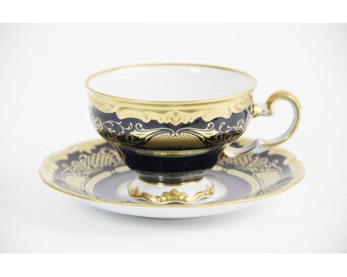"""Набор чайный 210мл на 6 персон 12 предметов подарочный Weimar Porzellan """"Симфония Кобальт"""""""