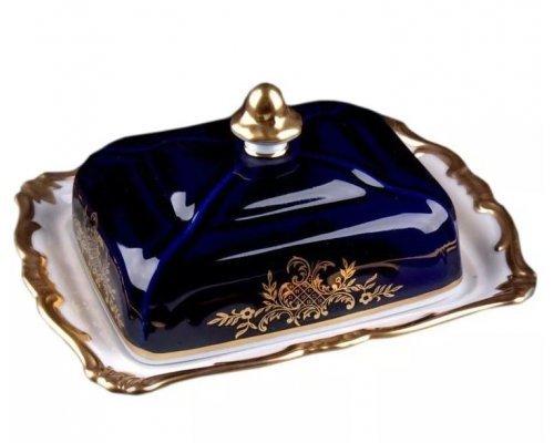 Масленка с крышкой Ювел синий Weimar Porzellan 250 г