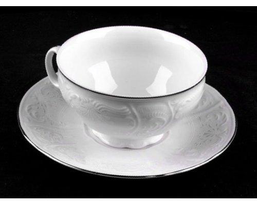 Набор для чая 360мл. Бернадотт Платиновый узор на 6 персон 12 предметов