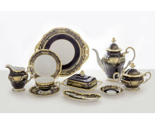 """Сервиз чайный Weimar Porzellan 210мл.17см на 12 персон 54 предмета """"Симфония Кобальт"""""""