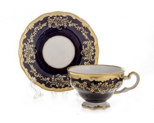 """Набор чайный 210мл. на 6 персон 12 предметов Weimar Porzellan """"Ювел синий 801"""""""