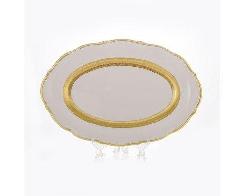 """Блюдо Bavaria """"Лента золотая матовая 2"""" 38см. овальное"""