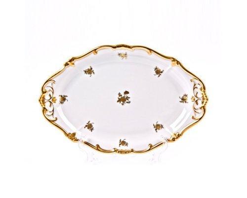 Блюдо овальное Роза золотая Weimar Porzellan 28 см