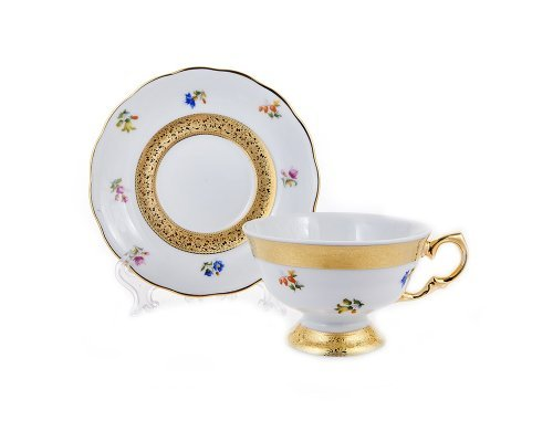 Набор для чая 200мл. на 6 персон 12 предметов Золотая лента и цветы Epiag Аляска 3052
