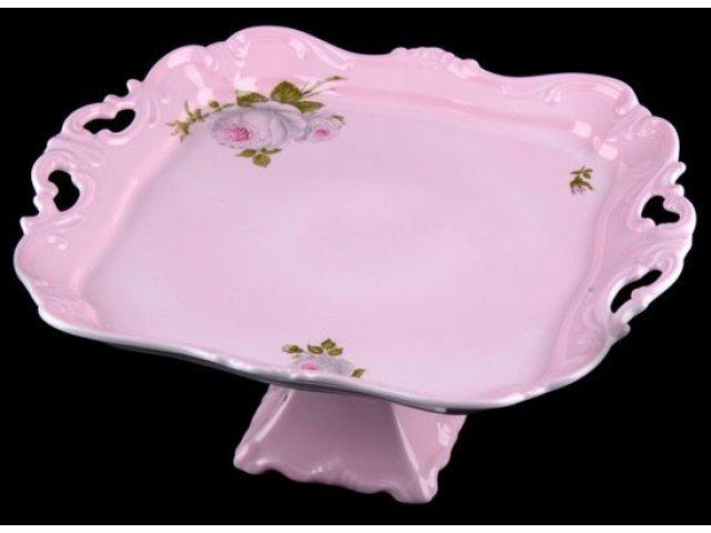 Блюдо квадратное на ножке Алвин розовый Weimar Porzellan 30см