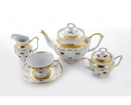 "Сервиз чайный на 6 персон 15 предметов Bavaria ""Блюмен Лента Золотая"""