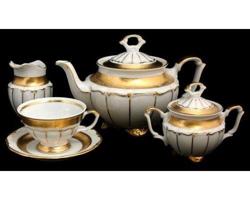 """Сервиз чайный Bavaria """"Лента золотая матовая 2"""" на 6 персон 15 предметов"""