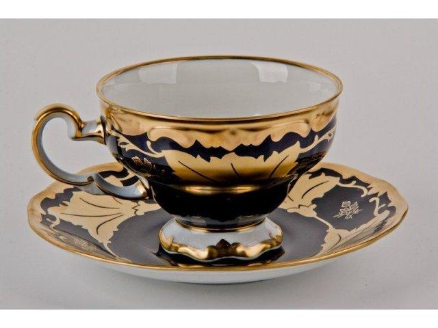 """Набор чайный на 6 персон 12 предметов подарочный Weimar Porzellan """"Кленовый лист синий"""""""