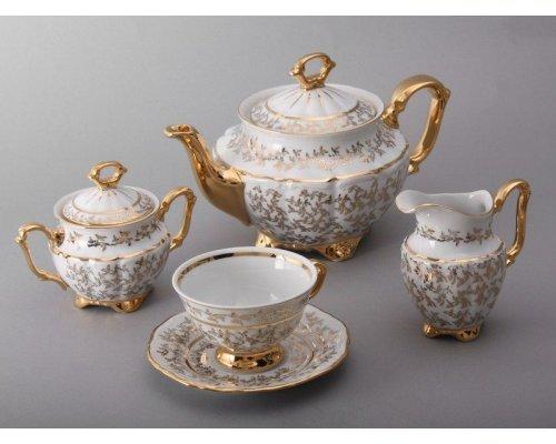 """Сервиз чайный Bavaria """"Лист белый"""" на 6 персон 15 предметов"""