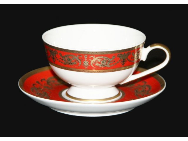 "Набор для чая 200мл. Bavaria ""Александрия Красная/зол."" на 6 персон 12 предметов"