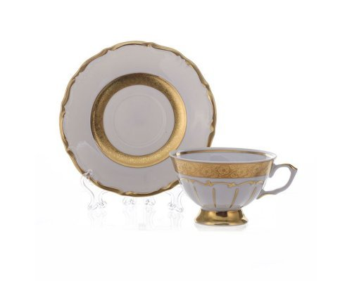 "Набор для чая на 6персон 12предметов Bavaria ""Лента золотая матовая 2"""
