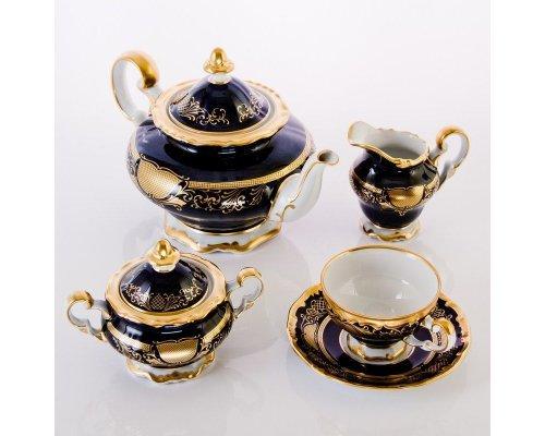 """Сервиз чайный 210мл. на 6 персон 21 предмет подарочный Weimar Porzellan """"Симфония Кобальт"""""""