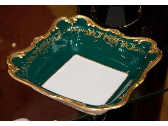 """Салатник квадратный 26см Weimar Porzellan """"Ювел зеленый 876"""""""