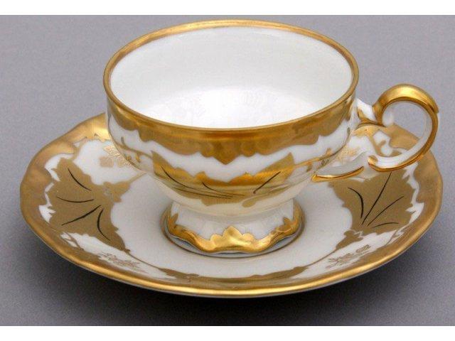 """Набор кофейный 160мл на 6 персон 12 предметов Weimar Porzellan """"Кленовый лист белый"""" подарочный"""
