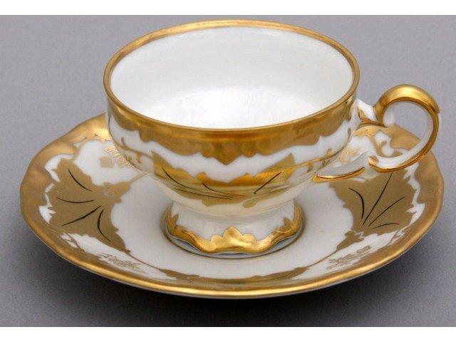 """Набор кофейный мокко 100мл на 6 персон 12 предметов подарочный Weimar Porzellan """"Кленовый лист белый"""""""