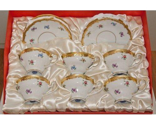 """Набор чайный 210мл. на 6 персон 18 предметов подарочный Weimar Porzellan """"Мейсенский цветок"""""""