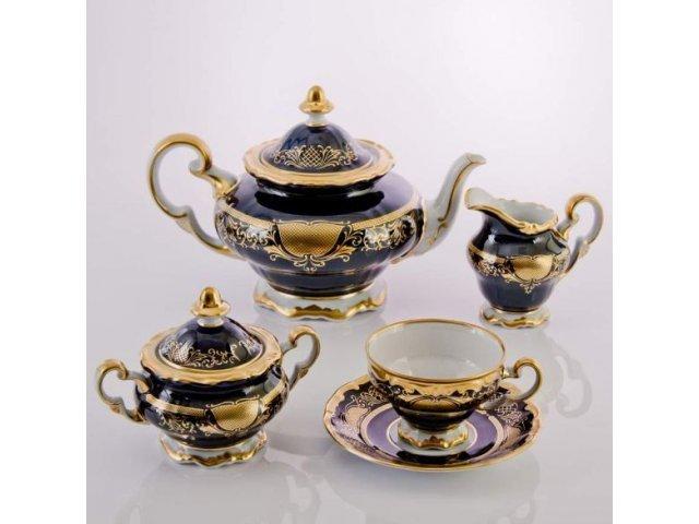 """Сервиз чайный 210млна 6 персон 23 предмета Weimar Porzellan """"Симфония Кобальт"""""""