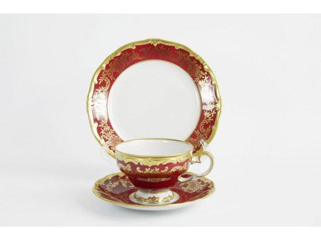 """Набор чайный на 6 персон 18 предметов подарочный. Weimar Porzellan """"Ювел красный"""""""