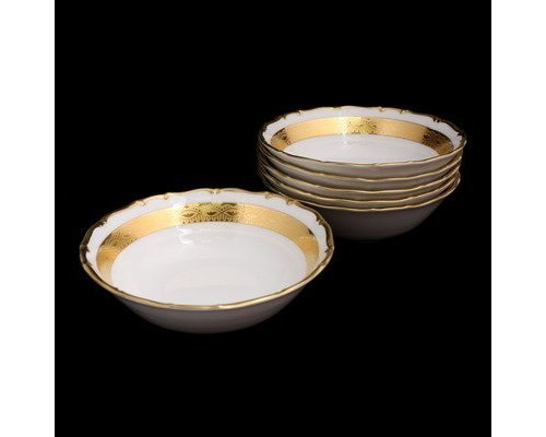 "Набор салатников 19см. Bavarian Porcelain ""Лента золотая матовая 1"" 6 шт."