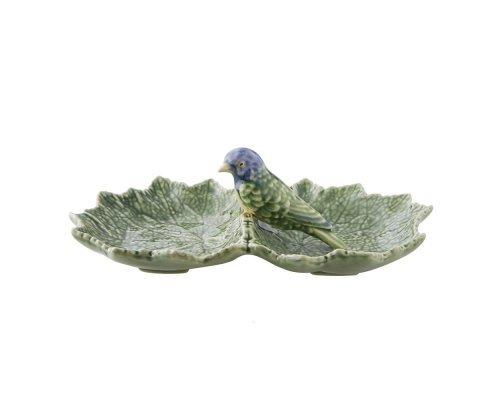 Блюдо двухсекционное Bordallo Pinheiro Листья 22см с синей птичкой