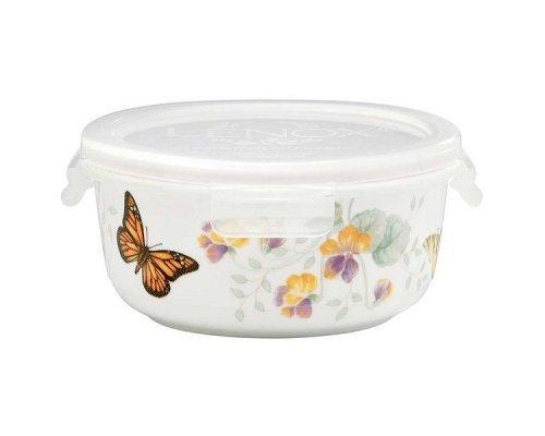 """Контейнер для хранения круглый с крышкой 14,5см Lenox """"Бабочки на лугу"""""""
