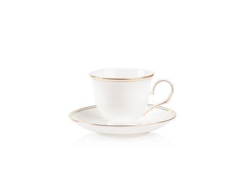 """Чашка чайная с блюдцем Lenox """"Федеральный, золотой кант"""" 180 мл"""