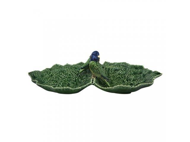 Блюдо двухсекционное Bordallo Pinheiro Листья 34см с двумя синими птичками