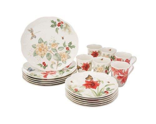 """Набор посуды чайно-столовый Lenox """"Пуансеттия, амарилис, жасмин. Бабочки на лугу"""" на 6 персон 18 пердметов, в подарочной коробке"""