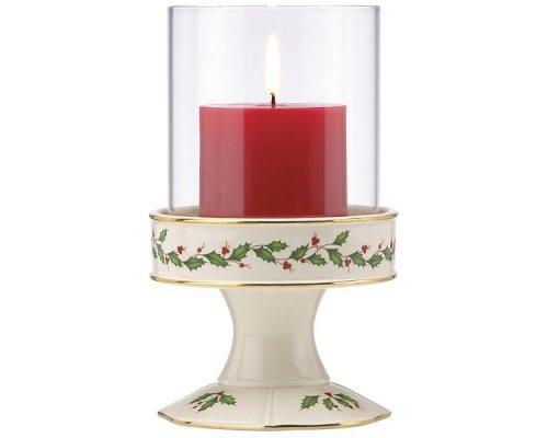 """Подсвечник 20см Lenox """"Новогодние праздники"""" (со стеклянным колпаком)"""