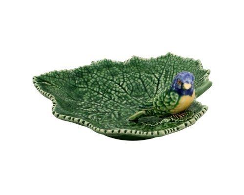 Блюдо Bordallo Pinheiro Листья 19см с синей птичкой